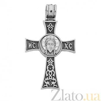 Крест из белого золота с чернением Добрый пастырь HUF--11481-Чбел