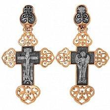 Крест Ангел Хранитель в красном золоте