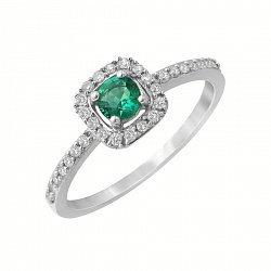 Золотое кольцо с изумрудом и бриллиантами 000118980