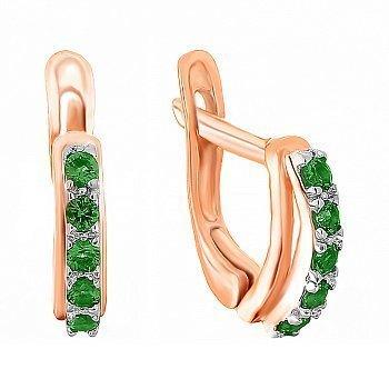 Срібні сережки з зеленими фіанітами і позолотою 000072142