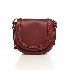 Кожаный клатч-седло Genuine Leather 1826 бордового цвета с декоративной косой на клапане