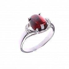 Серебряное кольцо Глаз дракона с гранатом и белыми фианитами