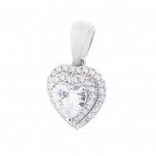 Серебряный подвес Любовь с фианитом в форме сердца