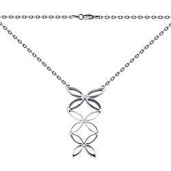 Серебряное колье Pattern с белым цирконием