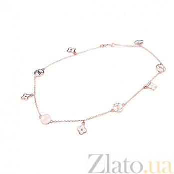Золотой браслет на ногу с белой эмалью Бренд ONX--б01877