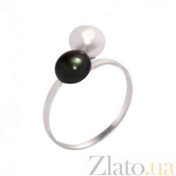 Серебряное кольцо Гамма с чёрным и белым жемчугом BGS--834/чб