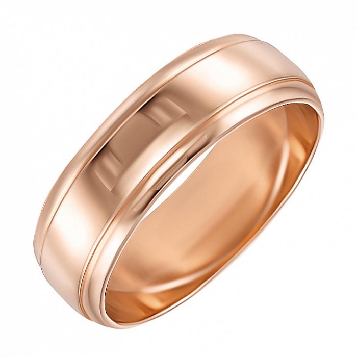 Золотое обручальное кольцо Классика стиля в красном цвете 000000311