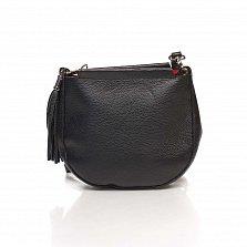 Кожаный клатч Genuine Leather 8887 черного цвета с замком-молнией и плечевым ремнем