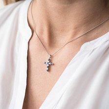 Крестик из белого золота Эритрея с сапфирами и бриллиантами