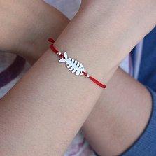 Шелковый браслет Скелет рыбы с фигурной серебряной вставкой