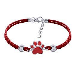 Шелковый браслет Лапка с красной эмалью и серебряными вставками и застежкой,10х10 мм