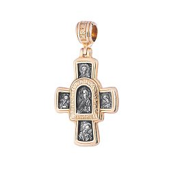 Серебряный крест с позолотой и чернением Спасение 000034521