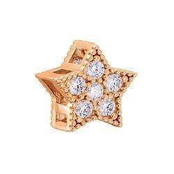 Шарм-звезда из красного золота с фианитами 000125339