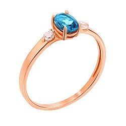 Кольцо из красного золота с топазом лондон и фианитами 000131329