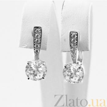 Сережки из белого золота с фианитами Беатрис VLN--213-352*