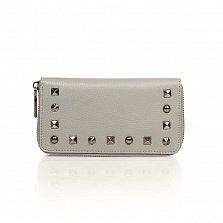 Кожаный кошелек Genuine Leather 1640 серого цвета на молнии с заклепками