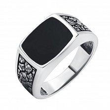 Серебряный перстень-печатка Бруск с фактурной шинкой и черной эмалью