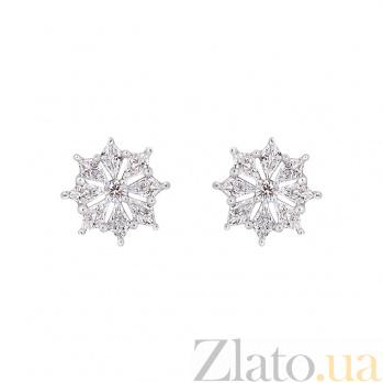 Золотые серьги с бриллиантами  1С698-0002