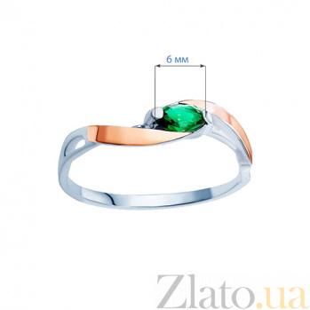 Серебряное кольцо с золотом и зеленым фианитом Анжелика AQA--568Кз