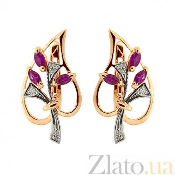 Золотые серьги с бриллиантами и рубинами Диля ZMX--ER-6286_K