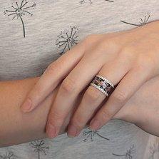 Серебряное кольцо Веточки с темно-синей и красной эмалью и фианитами