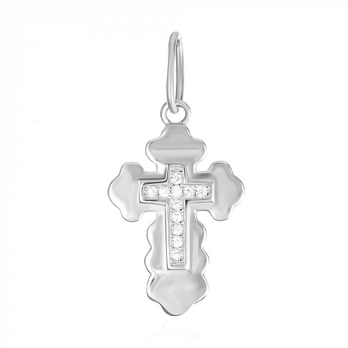 Серебряный крестик с фианитами  000039670 000039670