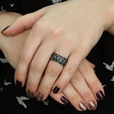Серебряное дизайнерское кольцо Окаменелость с чернением