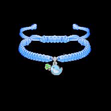 Детский плетеный браслет Птичка и клевер с эмалью и фианитом, 10-20см