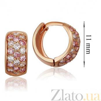 Золотые серьги-кольца Луиза с розовыми и белыми фианитами EDM--С079Р