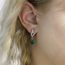 Серебряные серьги-подвески Лорана с зеленым ониксом и фианитами