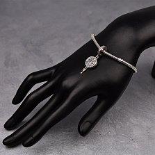 Серебряный шарм Ключ к моему сердцу с подвеской-медальоном и фианитами в стиле Пандора