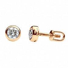 Золотые серьги-пуссеты с бриллиантами Ванесса