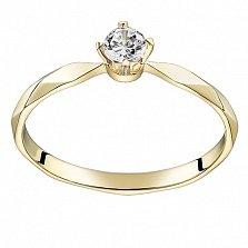 Помолвочное кольцо из желтого золота Моя принцесса с бриллиантом 3,9мм