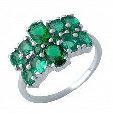 Серебряное кольцо Магали с синтезированными изумрудами