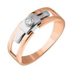 Перстень-печатка из комбинированного золота Аскания с бриллиантом