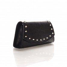 Кожаный клатч Genuine Leather 1692 черного цвета с декоративными элементами и цепочкой