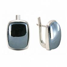 Серебряные серьги с гематитом Эмма