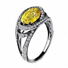 Золотое кольцо Богиня с цитрином и бриллиантами