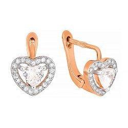 Позолоченные серебряные сережки с цирконием Love you