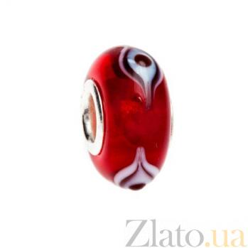 Бусина серебряная с красным венецианским стеклом AQA--002510056