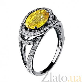 Золотое кольцо Богиня с цитрином и бриллиантами KBL--К1534/бел/цитр