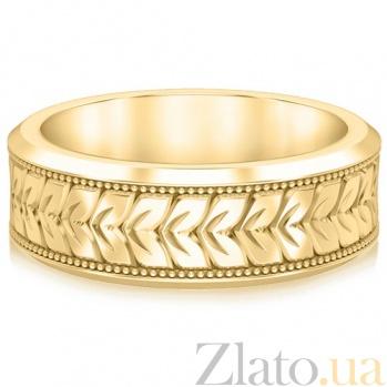 Кольцо обручальное в желтом золоте Благословение небес: Мелодия сердца 694
