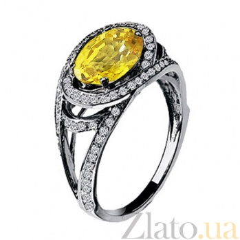 Золотое кольцо с мистик топазом и  бриллиантами Богиня KBL--К1534/бел/топ