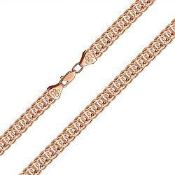 Браслет из красного золота в плетении королевский бисмарк, 7мм 000123210