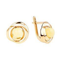 Позолоченные серебряные серьги в форме розы с лимонным янтарем 000118949