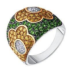 Серебряное кольцо с разноцветными фианитами, позолотой и черным родированием 000132910