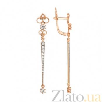 Серьги-подвески из красного золота с белым цирконием Камилла VLT--ТТ2448