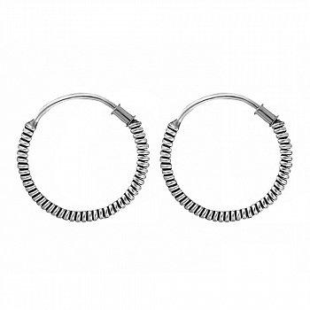 Серебряные серьги-кольца, d 15мм 000024696