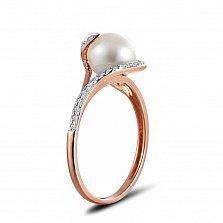 Кольцо из красного золота Дайана с бриллиантами и жемчугом