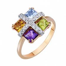 Золотое кольцо с полудрагоценными камнями Аврора